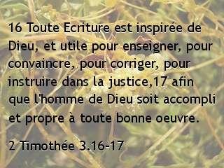 2 Timothée 3.16-17...