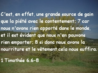 1 Timothée 6.6-8
