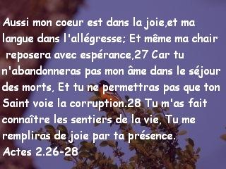 Actes 2.26-28